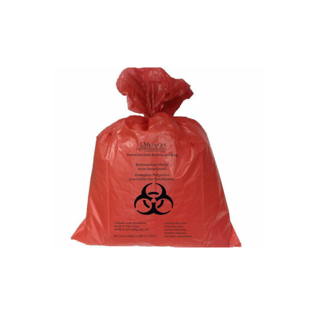 Red bio-hazard bag